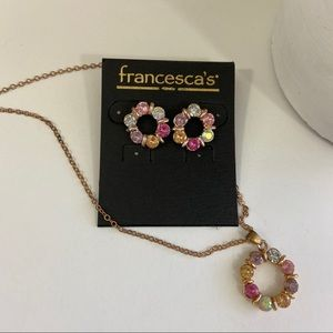 🆕 Francesca's Circular Paved Crystal Jewelry Set